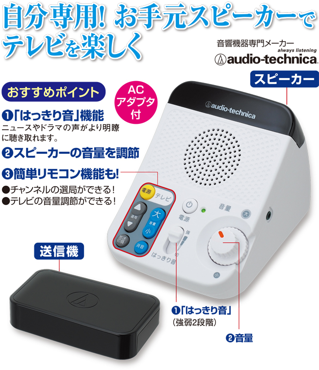 赤外線コードレススピーカーシステム(ACアダプタ付)画像1