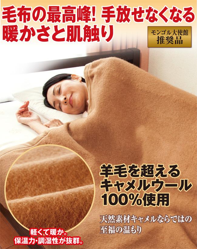 モンゴル大使館推奨 キャメル100%毛布画像1
