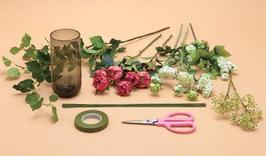 アーティフィシャルフラワーで使う花材や手入れ用具